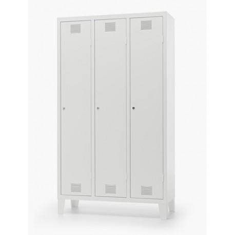Lock Spogliatoio metallico a 3 posti con serratura 90 x 50 x 180 cm by TANGRAM di 2H arredi per asilo