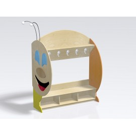 Spogliatoio Bruco Modulo coda 6 posti con panca e cappelliera con divisori
