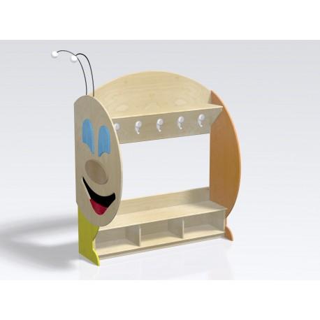 Spogliatoio Bruco Modulo coda 6 posti con panca e cappelliera con divisori by TANGRAM di 2H arredi per asilo