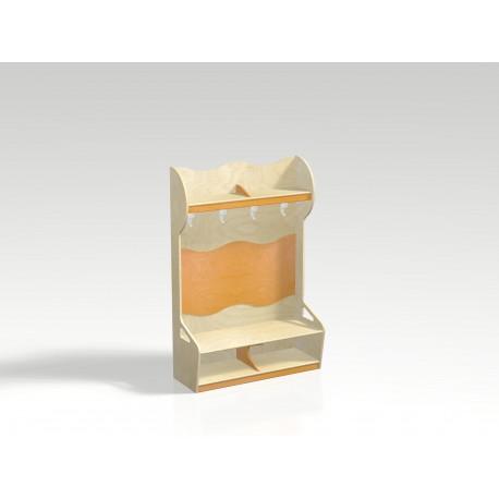 Spogliatoio Irene 4 posti con vano portascarpe e mensola appendiabiti in legno by TANGRAM di 2H arredi per asilo
