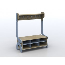 Spogliatoio Lalla 6 posti con panca porta scarpe a 6 vani e mensola in legno