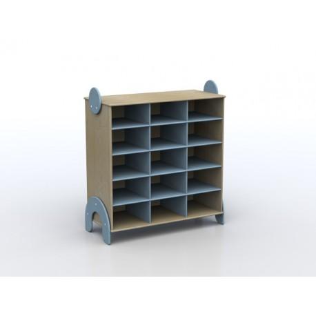 Mobile contenitore Lalla a 15 caselle in legno multistrato 100 x 44 x 106 cm by TANGRAM di 2H arredi per asilo
