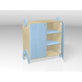 Mobile contenitore Lalla con ante e 2 ripiani interni in legno 100 x 44 x 106 cm by TANGRAM di 2H arredi per asilo