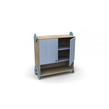 Mobile contenitore Lalla con ante e vano a giorno inferiore in legno multistrato by TANGRAM di 2H arredi per asilo