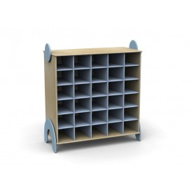 Mobile contenitore Lalla a 30 caselle in legno multistrato 100 x 44 x 106 cm by TANGRAM di 2H arredi per asilo
