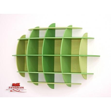 Libreria pensile semisferica Ellisse in multistrato 148 x 35 x 98 cm by TANGRAM di 2H arredi per asilo