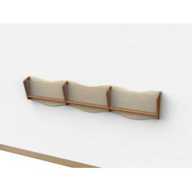 Libreria Nastrino pensile a 3 scomparti con frontalino sagomato in plexiglass