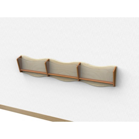Libreria Nastrino pensile a 3 scomparti con frontalino sagomato in plexiglass by TANGRAM di 2H arredi per asilo