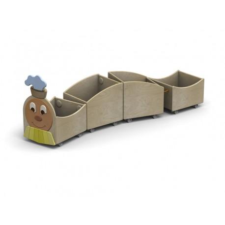 I mobili contenitori Trenino Libreria carrellata a 4 scomparti in legno by TANGRAM di 2H arredi per asilo