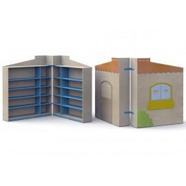 Mobile contenitore Nascondino carrellato e chiudibile con 8 ripiani interni