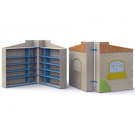 Mobile contenitore Nascondino carrellato e chiudibile con 8 ripiani interni by TANGRAM di 2H arredi per asilo