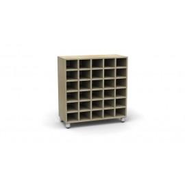 Mobile contenitore Rialto a 30 caselle legno rivestito in materiale melaminico by TANGRAM di 2H arredi per asilo
