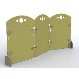 Separè Tondo a 3 elementi  in legno uniti fra loro a zigzag più dimensioni by TANGRAM di 2H arredi per asilo
