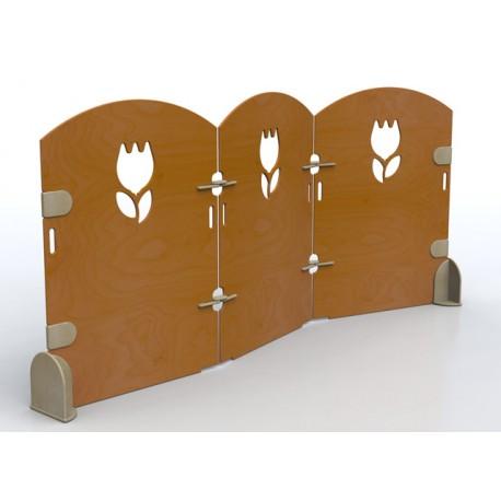 Separè Campanula 3 elementi uniti fra loro con snodi in legno a zigzag diverse dimensioni by TANGRAM di 2H arredi per asilo