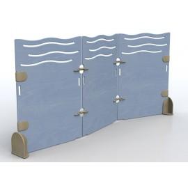 Separè Mare a 3 elementi con snodi in legno a zigzag in varie dimensioni
