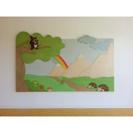 Pannellatura Maxipuzzle tematica a parete o divisoria realizzata su misura by TANGRAM di 2H arredi per asilo