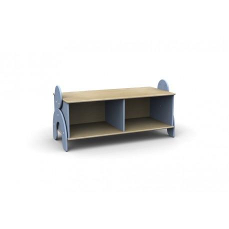 Panchetta Lalla con 2 vani a giorno in legno multistrato 100 x 44 x 42 cm by TANGRAM di 2H arredi per asilo