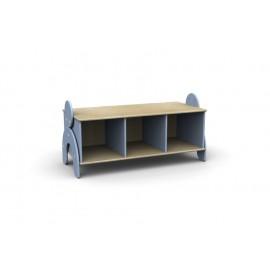 Panchetta Lalla con 3 vani a giorno in legno multistrato 100 x 44 x 42 cm