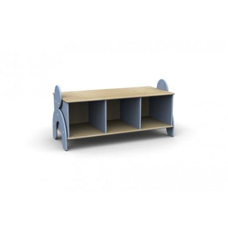 Panchetta Lalla con 3 vani a giorno in legno multistrato 100 x 44 x 42 cm by TANGRAM di 2H arredi per asilo