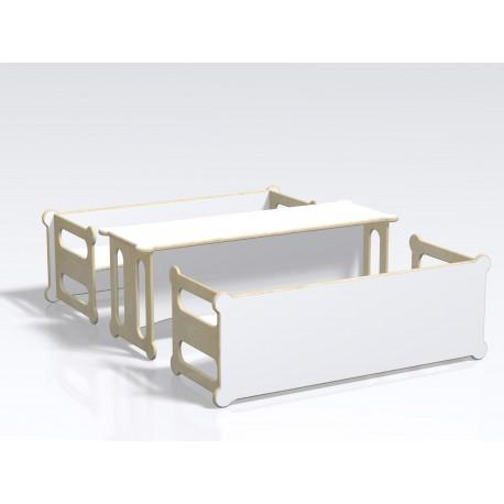 Panca tavolo Idem multiuso in legno multistrato laminato su entrambe le facce by TANGRAM di 2H arredi per asilo