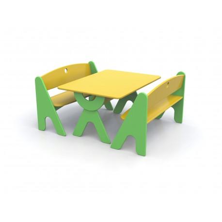Tavolo rettangolare Garden bicolore in legno 100 x 74 x 52 cm by TANGRAM di 2H arredi per asilo