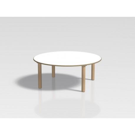 Tavolo rotondo Ovvio in legno con rivestimento in laminato in varie dimensioni by TANGRAM di 2H arredi per asilo