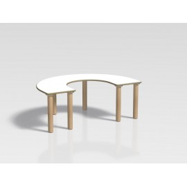 Tavolo pappa semicircolare Ovvio in legno con rivestimento in laminato