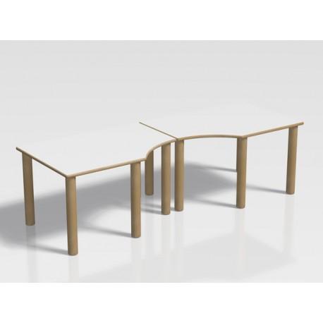 Tavolo pappa componibile Ovvio in legno e in laminato 184 x 65 x 52 cm by TANGRAM di 2H arredi per asilo