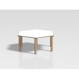 Tavolo esagonale Ovvio modello esagono in laminato e faggio 130 x 130 x 42/52 cm by TANGRAM di 2H arredi per asilo
