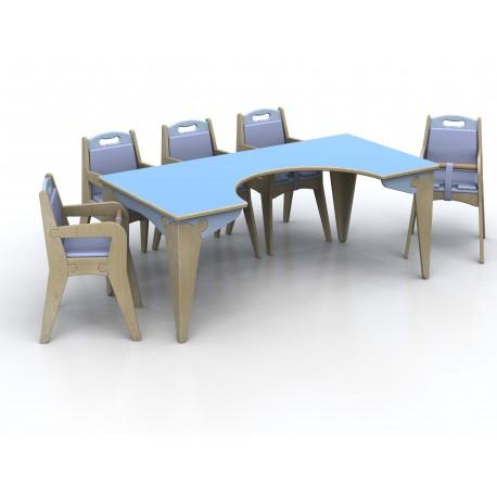 Tavolo per la pappa modello Lalla per bambini in legno multistrato by TANGRAM di 2H arredi per asilo