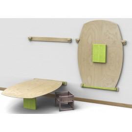 Tavolo rettangolare Fantasmino bombato in legno multistrato 150 x 105 x 42/52 cm by TANGRAM di 2H arredi per asilo