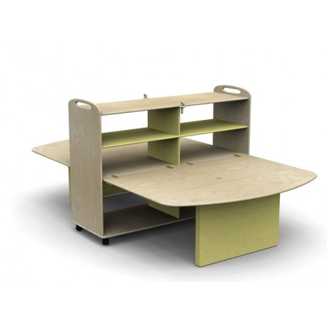 Mobile laboratorio Rosi con carrello chiudibile in legno multistrato by TANGRAM di 2H arredi per asilo