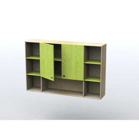 Pensile per parete attrezzata in legno multistrato in essenza di betulla by TANGRAM di 2H arredi per asilo