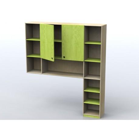 Pensile con colonna Pensile - colonna per parete attrezzata in legno multistrato by TANGRAM di 2H arredi per asilo