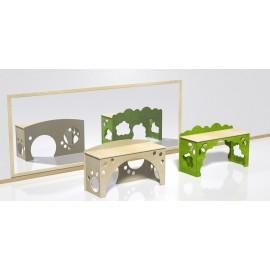 Scrivania tana tematica modello Prato con incastro a puzzle in legno multistrato