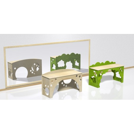 Scrivania Formaggio dal design elegante con incastro a puzzle in legno by TANGRAM di 2H arredi per asilo