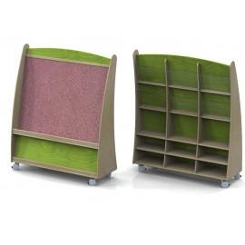 Espositore Velina con divisorio bifrontale carrellato in legno multistrato