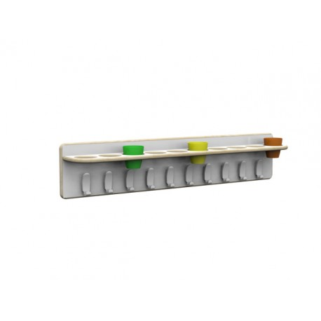 Appendiabiti a fascia Lineare con 10 ganci e portabicchieri 100 x 15 x 20 cm by TANGRAM di 2H arredi per asilo