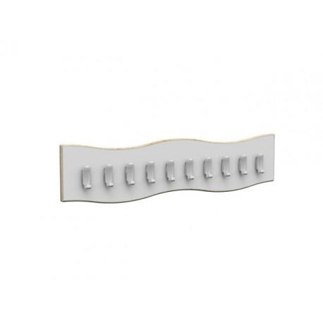 Fascia Zigzag a 10 ganci appendiabiti sagomata in legno 100 x 2 x 23 cm by TANGRAM di 2H arredi per asilo