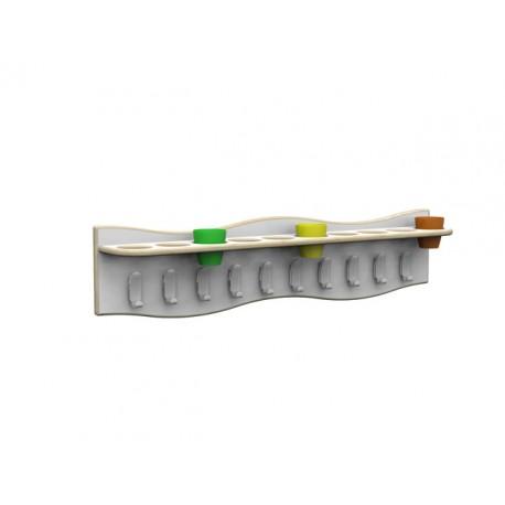 Fascia appendiabiti Zigzag sagomata 10 ganci e portabicchieri 100 x 15 x 23 cm by TANGRAM di 2H arredi per asilo