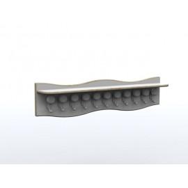 Appendiabiti a fascia Zigzag con 10 appendini e mensola 100 x 35 x 35 cm