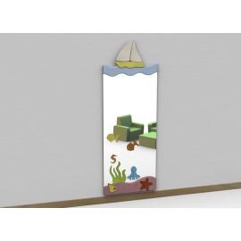 Specchio antinfortunistico mod D Acqua tematico a parete con cornice in legno by TANGRAM di 2H arredi per asilo