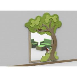 Specchio antinfortunistico Ugo lo gnomo tematico a parete con cornice in legno