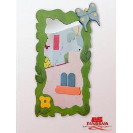 Specchio antinfortunistico Daisy la farfalla tematico a parete 90 x 150 cm