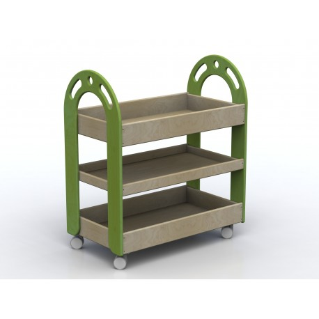 Carrello multiuso Lalla a 3 vasche con ruote girevoli in legno multistrato by TANGRAM di 2H arredi per asilo