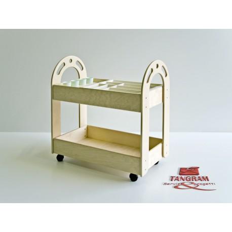 Carrello porta colori Lalla in legno a 2 vasche in plastica e portabicchieri by TANGRAM di 2H arredi per asilo