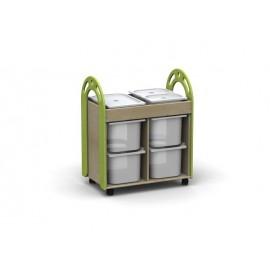 Carrello degli ecomateriali Eureka vasca in legno con contenitori in plastica by TANGRAM di 2H arredi per asilo