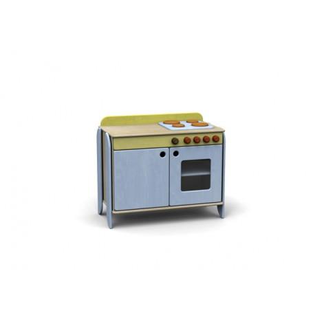 Modulo Simply con forno e piano cottura in legno multistrato 76 x 42 x 73 cm by TANGRAM di 2H arredi per asilo