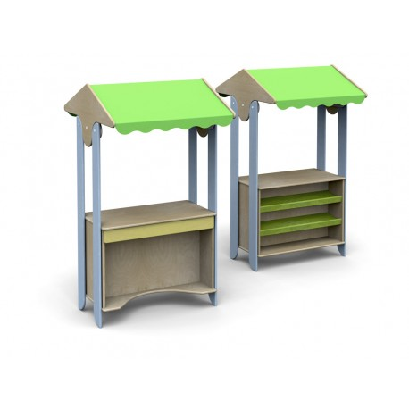 I giochi di ruolo Simply Modulo con incavo sediolina ripiani tettoia tessuto  by TANGRAM di 2H arredi per asilo