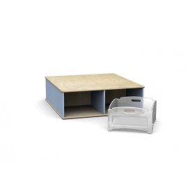 Pedana quadrata Scalino a quattro vani in legno multistrato 100 x 110 x 32 cm